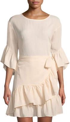 Astr Suri 3/4-Bell-Sleeve Ruffled Wrap Dress