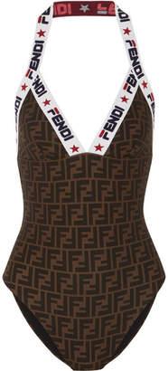 Fendi Intarsia-trimmed Printed Swimsuit - Dark brown