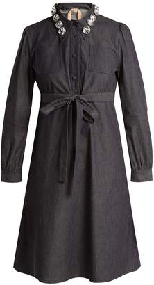 No.21 NO. 21 Crystal-embellished cotton-chambray shirtdress