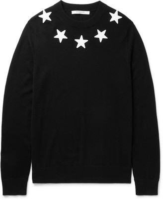 Givenchy Slim-Fit Star Appliquéd Wool Sweater $760 thestylecure.com