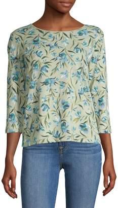 Karen Scott Three-Quarter-Sleeve Floral Print Top