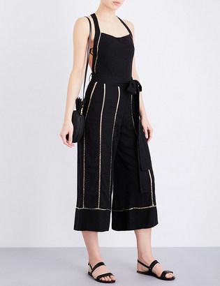 Vix Amanda open-embroidery linen-blend jumpsuit $325 thestylecure.com