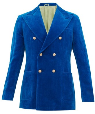Gucci Double Breasted Lyre Button Velvet Jacket - Mens - Blue