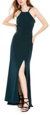 Morgan & Company Juniors' Ladder-Back Halter Gown