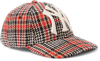 Gucci + New York Yankees Appliquéd Checked Wool-Blend Tweed Baseball Cap