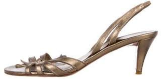 Salvatore Ferragamo Metallic Slingback Sandals