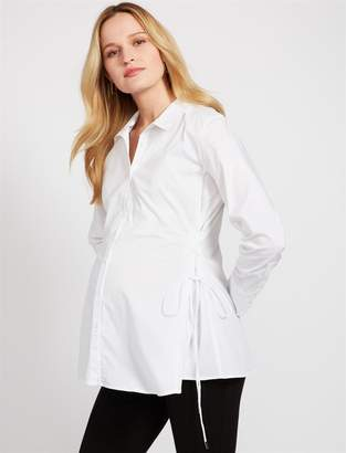 Lace Up Side Button Front Maternity Shirt