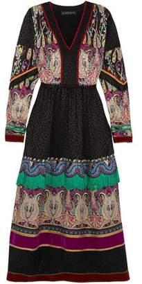 Etro Fringed Embellished Silk-Jacquard Midi Dress