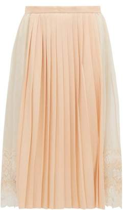 Burberry Lace Trimmed Chiffon And Pleated Satin Midi Skirt - Womens - Light Pink