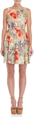 Apricot Abstract Floral Belted Dress