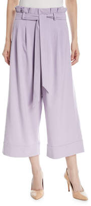 Alice + Olivia Ryan Paperbag Wide-Leg Crop Pants
