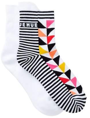 Hue Tab Back Crew Socks - Pack of 2