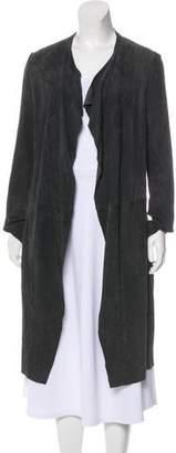 Scoop Suede Knee-Length Coat