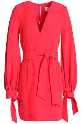 Milly Belted Gathered Cady Mini Dress