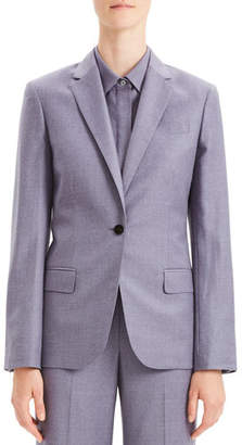 Theory Tailored Flannel Single-Button Wool Staple Blazer