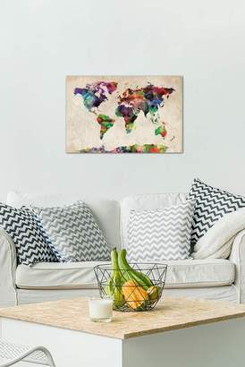 """World Map Urba Watercolor II by Michael Tompsett Gallery-Wrapped Canvas Print - 26\""""x18\"""""""
