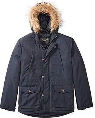The Plus Project Men's Winter Coat with Detachable Faux Fur Navy