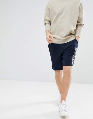 Abercrombie & Fitch Core Script Logo Sweat Shorts in Navy
