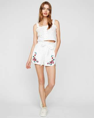 Express High Waisted Eyelet Sash Waist Shorties