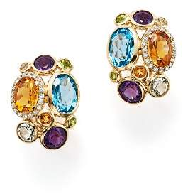 Bloomingdale's Multi Semi-Precious Gemstone and Diamond Earrings in 14K Yellow Gold - 100% Exclusive