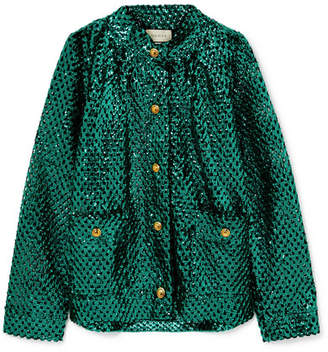 022aface Gucci Sequined Open-knit Jacket - Green
