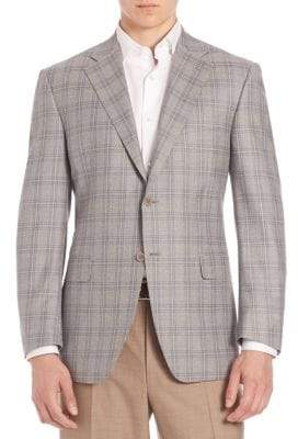 Canali Windowpane Checked Wool Sportcoat