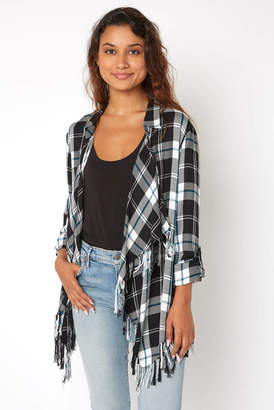 Willow & Clay Black Plaid Fringe Open Front Jacket