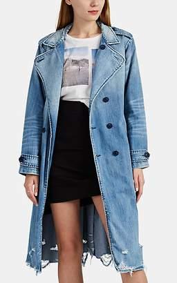 NSF Women's Dorian Distressed Denim Trench Coat - Blue