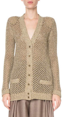 Marc Jacobs Metallic Fishnet Cardigan