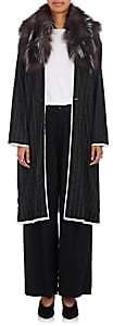 Pas De Calais Women's Fur-Trimmed Striped Wool-Blend Long Coat-Black
