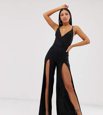 Asos Tall DESIGN Tall Wrap Front Split Leg Ring Detail Strappy Jumpsuit