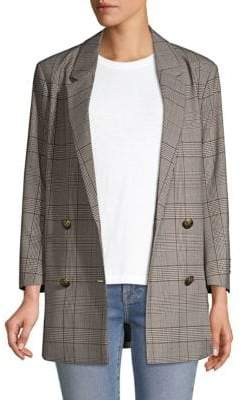 The Kooples Double-Breasted Plaid Blazer