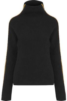 Haider Ackermann Velvet-Trimmed Ribbed Wool And Cashmere-Blend Turtleneck Sweater