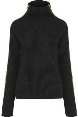 09254368bc Haider Ackermann Velvet-trimmed Ribbed Wool And Cashmere-blend Turtleneck  Sweater