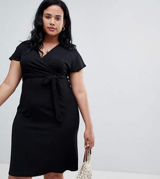 New Look Plus Curve rib wrap dress in black