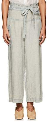Pas De Calais Women's Micro-Checked Linen Fold-Over Pants