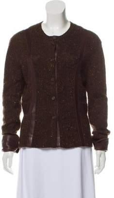TSE Leather-Trimmed Medium-Weight Cardigan Brown Leather-Trimmed Medium-Weight Cardigan