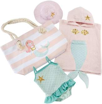 Baby Aspen Mermaid Hooded Towel, Swimsuit, Sun Hat & Tote Set