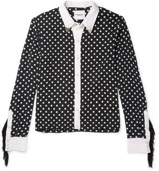 TAKAHIROMIYASHITA TheSoloist. Slim-Fit Fringed Polka-Dot Cotton And Silk-Blend Shirt