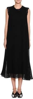 Jil Sander Round-Neck Sleeveless Diamond-Mesh Long Dress