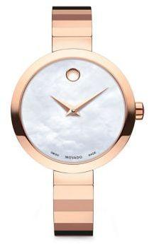 Movado Novella Round Case Stainless Steel Bracelet Quartz Analog Watch $795 thestylecure.com