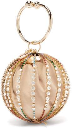Rosantica By Michela Panero - Urania Crystal Cage Velvet Pouch Clutch Bag - Womens - Gold Multi