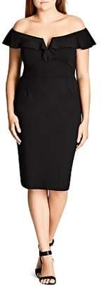 City Chic Plus Plunge Off-the-Shoulder Sheath Dress