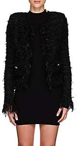 Balmain Women's Tweed-Effect Knit Cardigan - Black