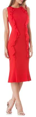 Carmen Marc Valvo Vertical Ruffle Crepe Sheath Dress