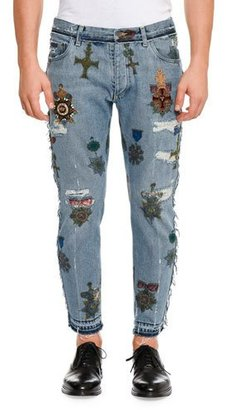 Dolce & Gabbana Military Embroidered Straight-Leg Jeans with Released Hem, Blue $2,775 thestylecure.com