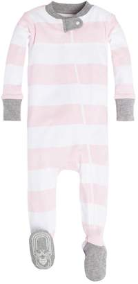 Burt's Bees Rugby Stripe Organic Baby Zip Up Footed Pajamas