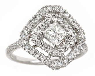 Neiman Marcus Diamonds 18k White Gold Square-Shape Diamond Ring $6,750 thestylecure.com
