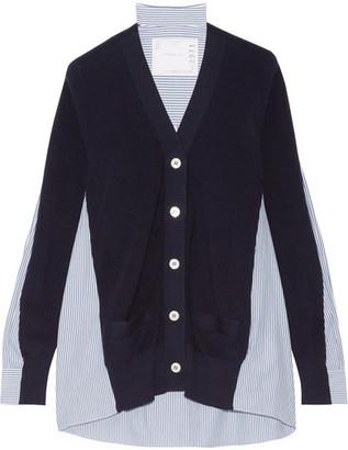 Sacai - Ribbed Cotton And Poplin Cardigan - Midnight blue $615 thestylecure.com