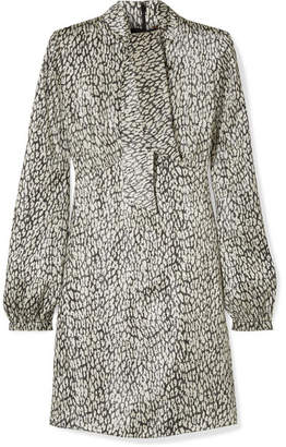 Saint Laurent Leopard-print Silk-blend Lamé Mini Dress - Ivory